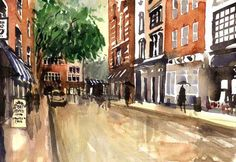 London has many streets that have a product or service specialty. Most of the shops on this street specialize in instruments and sheet music. Watercolor Prints available. Denmark Street, British Isles, London, London England