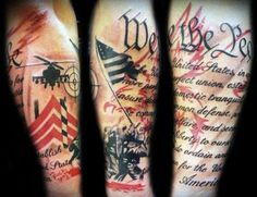 This sleeve mixes images from the military, the Iwo Jima memorial, and the Constitution.  Served 8 years in the US Army, but I can totally respect the ink of a of a fellow service brother or sister. Semper Fi!
