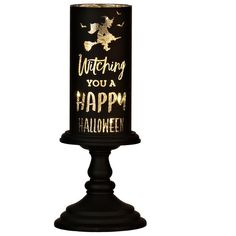 Witching You A Happy Halloween LED Candlestick ($17) ❤ liked on Polyvore featuring home, home decor, holiday decorations, halloween home decor and black home decor