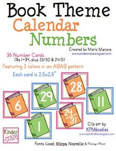 Book Theme Calendar Numbers - FREE for the next 10 minutes!
