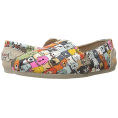 BOBS from SKECHERS Bobs Plush - Wag Party (Multi) Women's Flat Shoes ($45) ❤ liked on Polyvore featuring shoes, woven slip on shoes, slip on shoes, multi colored shoes, cat flats and party shoes