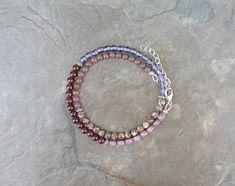 Garnet Bracelet, Pink Bracelet, Summer Bracelet, Boho Bracelet for Her, Double Wrap Bracelet, Unique Gift Bracelet, Hippie Bracelet, Garnet, Aventurine, Jasper