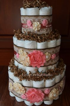 Shabby Chic Diaper Cake/ Burlap and Lace by LittleOrchidStudio