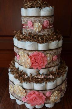 Shabby Chic Diaper Cake/ Burlap Diaper Cake/ by LittleOrchidStudio
