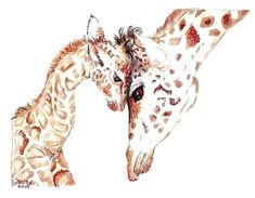 Giraffe Drawing Baby Animals and their Mothers Animals by Easy Giraffe Drawing, Baby Animal Drawings, Giraffe Painting, Animal Sketches, Giraffe Heart, Giraffe Family, African Giraffe, African Animals, Giraffe Species