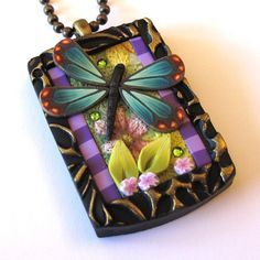 clay dragonfly | POLYMER CLAY ~ Dragonfly Garden Necklace
