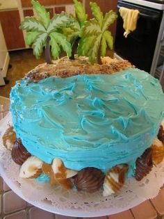 Ocean/beach theme cake: