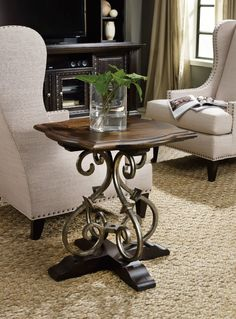 Treviso Lamp Table with Wrought Iron Accents by Hooker Furniture at Turk Furniture Hooker Furniture, Large Furniture, Quality Furniture, Furniture Deals, Living Room Furniture, End Table Sets, Sofa End Tables, End Tables With Storage, Wood And Metal