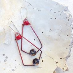 Just for love  earrings with red and black copper. by MONOtekst, $33.00