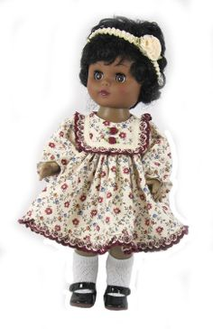 """12"""" Cream Floral Doll Dress for Goodfellow Dolls"""