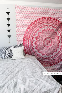 ☾✩ Boho Vibes ☽ ✩ Save 25% off all orders with code PINTERESTXO at checkout | Bohemian Bedroom + Home Decor | Mandala Tapestries, Wall Hanging & Twilights Decor by Lady Scorpio | Pink Silver White & Black Girly Lotus tapestry Shop Now LadyScorpio101.com | @LadyScorpio101 | Photography by Luna Blue @Luna8lue