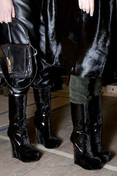 Theyskens' Theory velvet + patent boots, love!