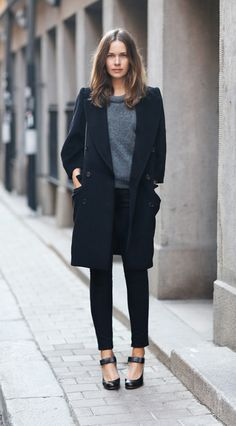 Black + gray. Relaxed hair. Long coat. Skinnies. Ankle straps.