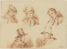 Louis Meijer | Studieblad met vijf jongens- en mannenhoofden, Louis Meijer, 1819 - 1866 |