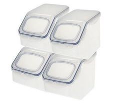 Lock U0026 Lock 4 Piece Flip Top Storage Bin Set W/Colored Lids Available