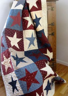 Patriotic Quilt  Red White and Blue  Americana Wall