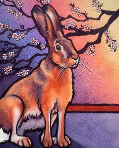 "Amy Rattner Art ""Spring Hare,"" watercolor 11x15"", was painted at this time of year in honor of the beautiful cherry blossoms that will soon emerge and let us know that spring is on its way. I think wild rabbits are another hopeful sign of spring."
