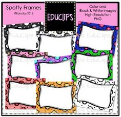 """These spotty frames with large doodled spots will brighten up any page! They come in a range of colors and include a black and white version.Size 8.5"""" x 11"""" (can be altered)This set contains all of the images shown.9 images (8 in color and 1 in B&W)Images saved at 300dpi in PNG files.For personal or commercial use.Download preview for TOU.This is a zip file."""