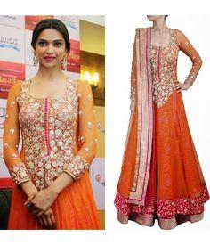 Deepika Padukone Orange Anarkali Suit At Promotes Ramleela