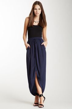 blue drawstring casual wrap skirt