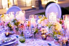 Get a lovely atmosphere with lots of candles on your wedding table.  Wedding by Monte-Carlo Weddings
