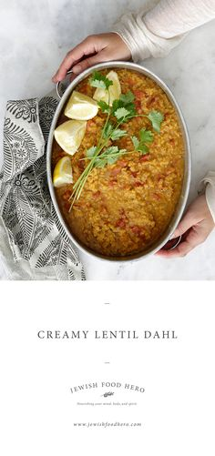 The Jewish Food Hero Cookbook Summer Recipes, Holiday Recipes, Dinner Recipes, Whole Food Recipes, Great Recipes, Dahl Recipe, Lentil Dahl, Clean Eating, Healthy Eating