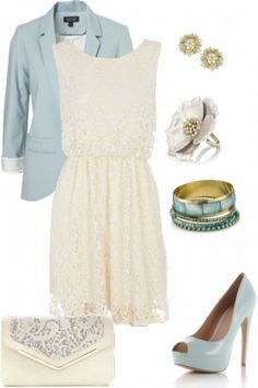Lace dress styled with blue