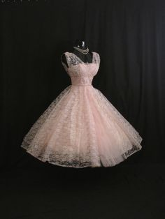 Vintage 1950's 50s Bombshell Baby PINK Lace Tulle by VintageVortex