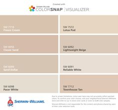 I found these colors with ColorSnap® Visualizer for iPhone by Sherwin-Williams: Fresco Cream (SW 7719), Classic Sand (SW 0056), Sand Dollar (SW 6099), Pacer White (SW 6098), Lotus Pod (SW 7572), Lightweight Beige (SW 6092), Reliable White (SW 6091), Townhouse Tan (SW 7712).