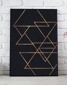 Golden Triangles Printable, Geometric Print, Abstract Poster, Gold And Navy Print, Minimalist Wall Art, Triangles Illustration Printable  HD digital download sized to fit standard frames, print from print shop or your computer.  You will receive - 8 x 10 inch jpg 11 x 14 inch jpg 16 x Printable Art, Printables, Golden Triangle, Dbt, As You Like, Triangles, Artsy Fartsy, Brushes, Bedroom Ideas