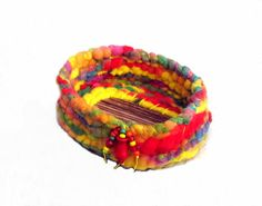 Coiled Basket Bowl Fun Neon Rainbow in Soft by midnightcoiler, $37.00