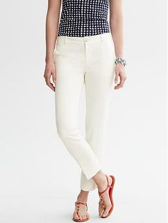 Camden-Fit Textured Ivory Ankle Pant   Banana Republic   returning because they are too sheer, unlined and you can see the pocket liners.