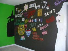Broadway Wall. It could be chalkboard paint, but have the musical logos painted on but more spread out, so you could make little drawings and such around them, and people that come over could comment near their favourites!