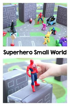 Small World Superhero small world play.Superhero small world play. Superhero Preschool, Superhero Classroom, Preschool Activities, Super Hero Activities, Superhero City, Superhero Academy, Superhero Ideas, Disney Activities, Reggio Classroom