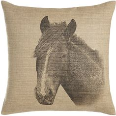 Fresh American Horse Pillow ($160) ❤ liked on Polyvore featuring home, home decor, throw pillows, natural, horse home decor, linen throw pillows, handmade home decor and horse throw pillows