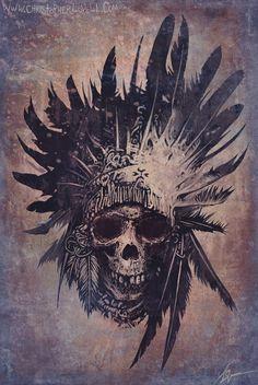 TattooMagz - Handpicked World's Greatest Tattoos & Designs - Indian skull with feathers tattoo idea - Tattoo Plume, Tattoo Dotwork, Tatto Ink, Tatoo Art, Tattoo Drawings, Tattoo Thigh, Tattoo Feather, Wolf Tattoos, Band Tattoos