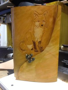 Handmade Leather Journal or Notebook Cover  Fox by Marcshandycraft
