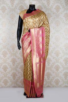 #Beige multicoloured pure banarasi #silk glamorous #saree with dull #gold & light #pink border -SR11711