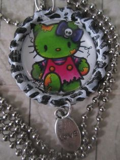 Hello Kitty Psycho billy Zombie Goth by TinkerbevsTrinkets on Etsy, $6.99