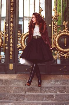 I love this skirt.....Shop this look on Kaleidoscope (skirt, jacket, boots)  http://kalei.do/WVgWo5tA30z04HgQ