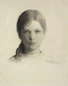 Abbott Handerson Thayer, Portrait Head of a Young Girl (Gladys Thayer at 11), 1897 Crayon on wove paper 47.6 x 35.9 cm on ArtStack #abbott-handerson-thayer #art