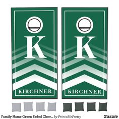Family Name Green Faded Chevron Monogram Modern Cornhole Set Custom Cornhole Boards, Cornhole Set, Cross Beam, Chevron Monogram, Epic Games, School Colors, 2 Set, Board Games, Custom Design