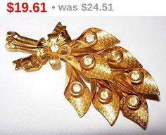 "Art Deco Rhinestone Brooch Pin Textured Gold Metal Flower Leaf Design 3 1/4"" BIG Vintage"