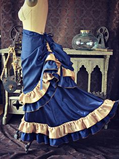 NEW Victorian Steampunk Edwardian Navy Blue and Gold Bustle Skirt