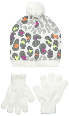 94a732f6e1b88 Nolan Gloves Big Girls' Two-Piece Rachel Pop Color Leopard Beanie and Gloves  Set
