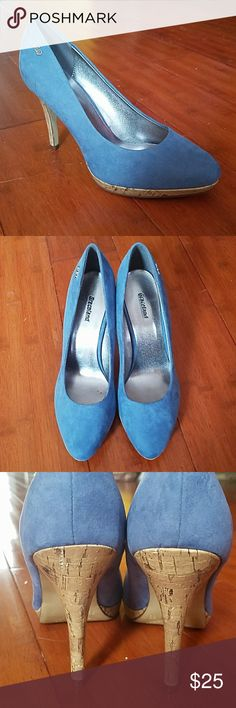 GRACELAND Wedgewood Blue Suede Closed Toed Heel NWT-GRACELAND Wedgewood Blue Suede w/Cork heels Closed Toed Heels Graceland Shoes Heels