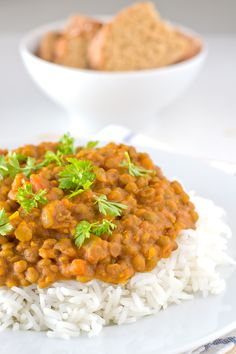 Vegan lentil curry #vegan; A little bland. Try spices from Cookie + Kate Chana, can also use lite coconut milk
