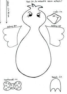 template for bird Spring Crafts For Kids, Halloween Crafts For Kids, Art For Kids, Diy And Crafts, Arts And Crafts, Crochet Sheep, Preschool Themes, Kids Patterns, Autumn Art