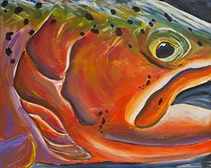 "Purple Rain Trout 16"" x 20"" Original Acrylic Painting on Stretched Canvas"
