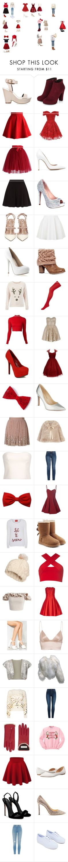 """""""Christmas outfits"""" by airianagb on Polyvore featuring Miss Selfridge, Chicwish, Gianvito Rossi, Lauren Lorraine, Valentino, Topshop, Muk Luks, Accessorize, Alice + Olivia and Unique Vintage"""